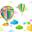 Sky with air balloon - Stock Vector