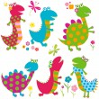 Happy dinosaurs — Stock Vector