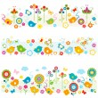 Cute nature borders with colorful elements — Stock Vector