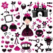 Aggressive princess set — Stock Vector