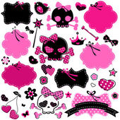 Girlish cute skulls and frames — Stock Vector