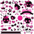 Stock Vector: Girlish cute skulls