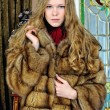 Beautiful woman in fur coat in the luxurious antique interior. — Stock Photo #12429241