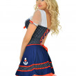 Beautiful blonde masquerade seaman costume. — Stock Photo #13519317