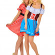 Two beautiful blonde women in carnival costumes of Mouse and Sno — Stock Photo
