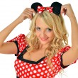 Beautiful  blonde woman in mouse masquerade costume. — Stock Photo