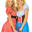 Two beautiful blonde women in carnival costumes of Mouse and Sno — Stock Photo #13519389