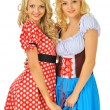 Stock Photo: Two beautiful blonde women in carnival costumes of Mouse and Sno