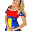 Beautiful blonde woman in masquerade snow white costume. — Stock Photo