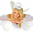 Beautiful blonde in masquerade costume of angel. — Stock Photo #13519437