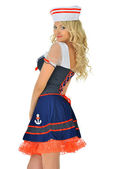 Beautiful blonde masquerade seaman costume. — Stock Photo