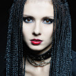 Beautiful woman in gothic shape with african pigtails . - Stock Photo