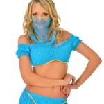 Beautiul blonde woman in orient beauty costume. — Stock Photo