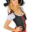 Beautiful blonde woman in carnival  pirate costume. - 