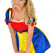 Beautiful blonde womin carnival snow white costume. — Stock Photo #13651749