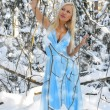 Beautiful woman in the winter forest. — Stock Photo #15728921