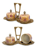 Antique porcelain set in modern style. — Stock Photo