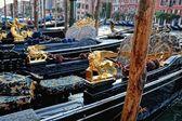 Venetian gondolas at the berth. — Stock Photo