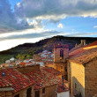 Sunset landscape mountain view of the old town Ares in Spain. — Stock Photo
