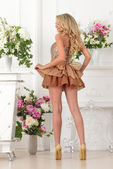 Beautiful woman in brown dress in luxury interior.. — Stock Photo