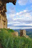 与山景的日落景观。在西班牙的战神. — 图库照片