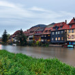 Stock Photo: River and exteriors of houses in Bamberg, Germany.