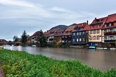 River and exteriors of houses in Bamberg, Germany. — Stock Photo