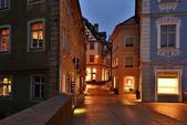 Illuminated street of gerrman town Bamberg. — Stock Photo