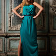 Stock Photo: Portrait of the beautiful woman green gown.