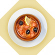 Dish of russian hodgepodge soup in ceramic pot. — Stock Photo #42791173