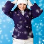 Beautiful woman in winter fashion. Snowflake. — Stock Photo #7912436