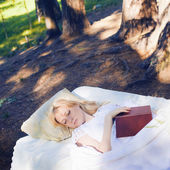 The bed in the forest — Stock Photo