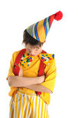 Resentful clown boy — Stock Photo