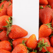 Fresh strawberries with blank white card — Stock Photo
