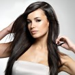 Fashion model with long straight hair. — Stock Photo #14283649