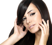 Woman with beauty long straight hair — Stock Photo