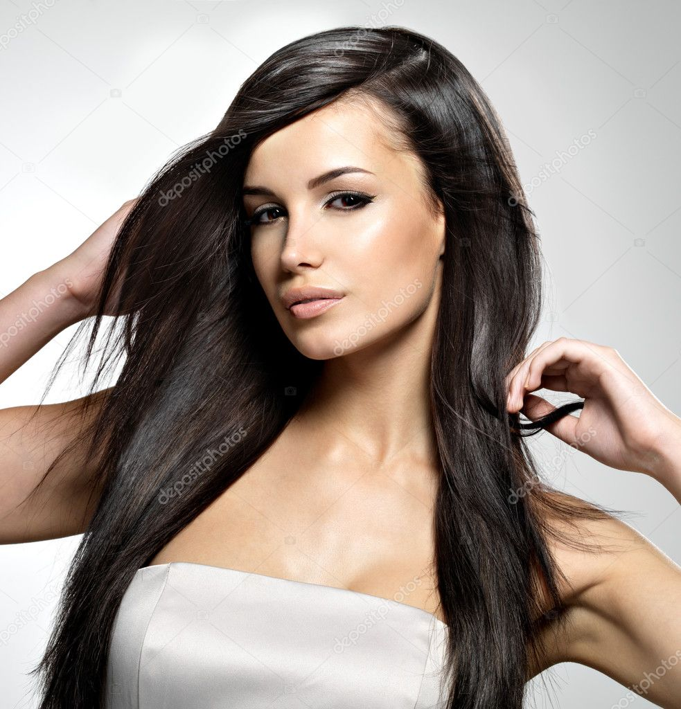 Fashion model with long straight hair stock photo 169 valuavitaly