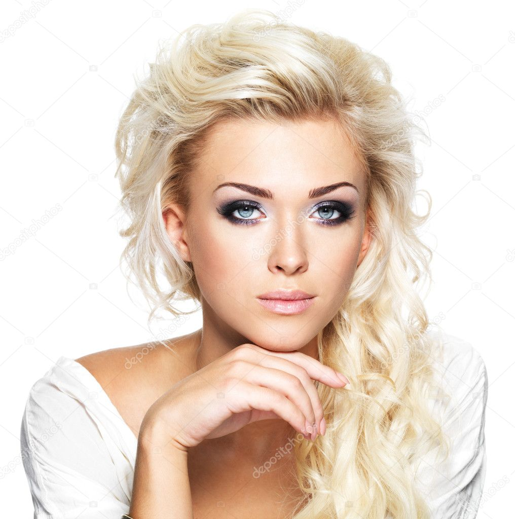 Beautiful Blond Woman With Long Curly Hair And Style