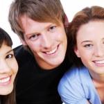 Portrait of fun three students — Stock Photo #1477904
