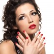 Beautiful  fashion woman with red manicure and lips — Foto de Stock