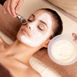 Spa therapy for woman receiving facial mask — Stock Photo