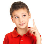 Portrait of cheerful boy with good idea — Stock Photo