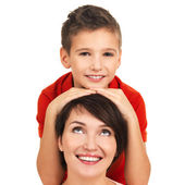 Portrait of a happy young mother with son — Stock Photo
