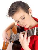 Blanco está jugando con la guitarra acústica — Foto de Stock