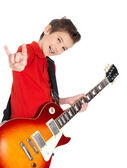 Portrait of young boy with electric guitar — Stock Photo