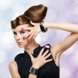 Beautiful glamour girl with creative hairstyle - Stockfoto