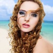 Beautiful glamour  woman with  long curly hairs — Stock Photo