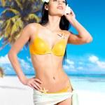 Woman with beautiful body in bikini at beach — Stock Photo #19123815