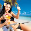 Happy woman on vacation enjoying at beach — Stock Photo