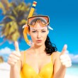 Happy woman on beach with thumbs up sign — Stok fotoğraf